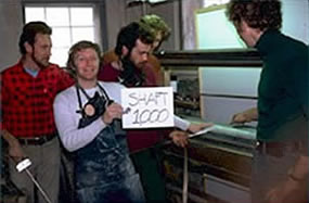 Celebrating making the 1000th shaft